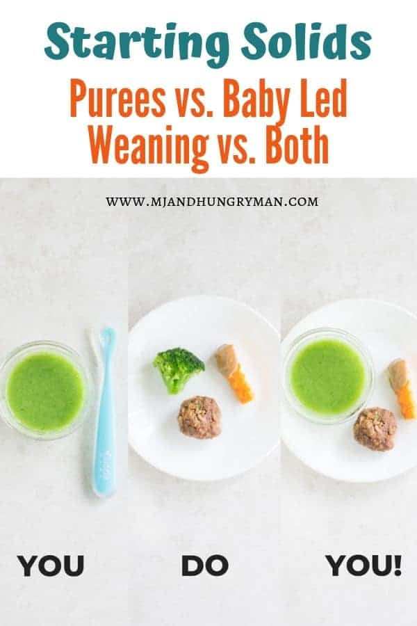graphic showing pureed broccoli, an example of baby led weaning plate, and a plate showing combination approach