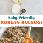 image of the bulgogi sauce ingredients on top with a cooked bulgogi in skillet below