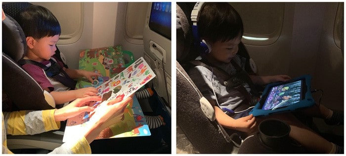 two images of entertaining a toddler on the plane with stickers and screentime