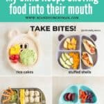 four plates showing different ideas of teaching your child to take bites