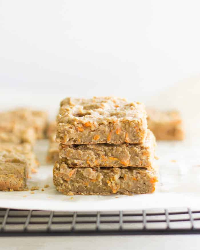 three stacked egg free carrot lentil bars