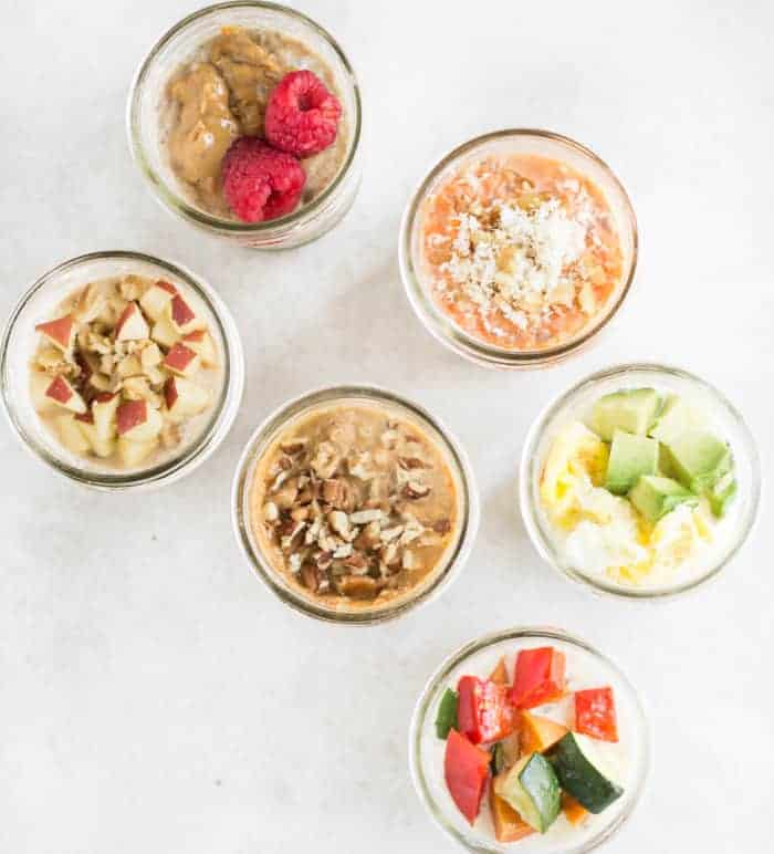 6 mason jars filled with different overnight oats toppings