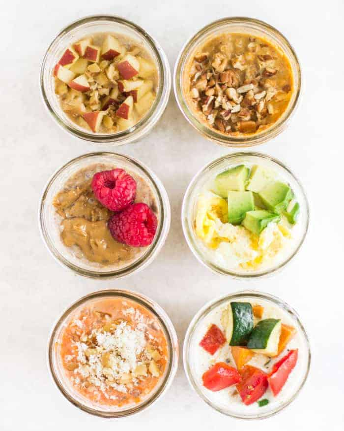 6 different overnight oats concoction with toppings shot from above