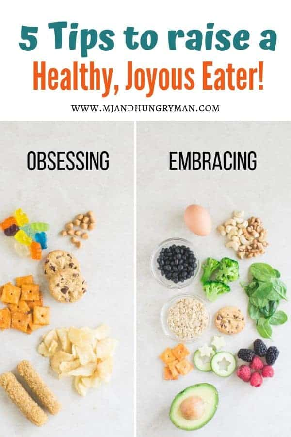 junk foods on the left labeled obsessing and nutritious foods with a cookie and crackers on the right under embracing