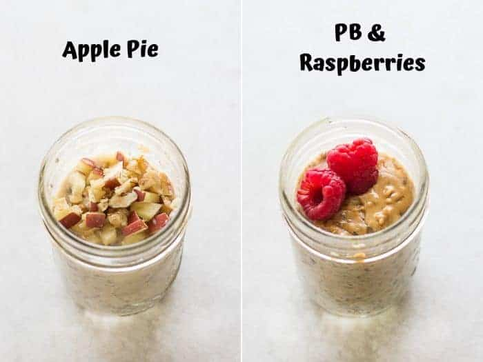 a collage of apple pie overnight oats on the left and PB and raspberries on the right