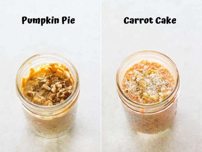 a collage of pumpkin pie overnight oats on the left and carrot cake on the right