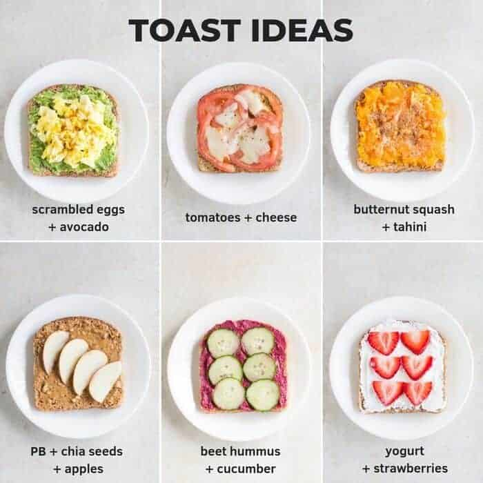 six toast ideas including scrambled egg and avocado, tomato and cheese, and peanut butter and apple