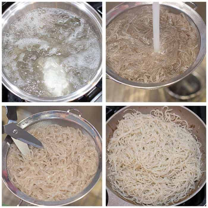 four image collage showing the noodles boiling, getting rinsed in water, chopped with scissors