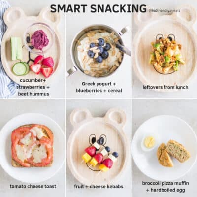 six examples of smart snacks including vegetables with beet hummus, yogurt with blueberries and cereal, leftovers from lunch