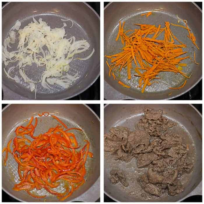 a four image collage showing onion, carrots, bell peppers, and beef cooking individually in a pan