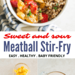 healthy sweet and sour meatball stir-fry