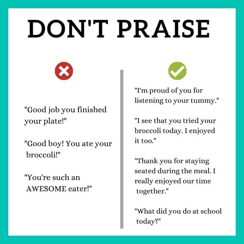A graphic titled don't praise with examples of what to do and what not to do