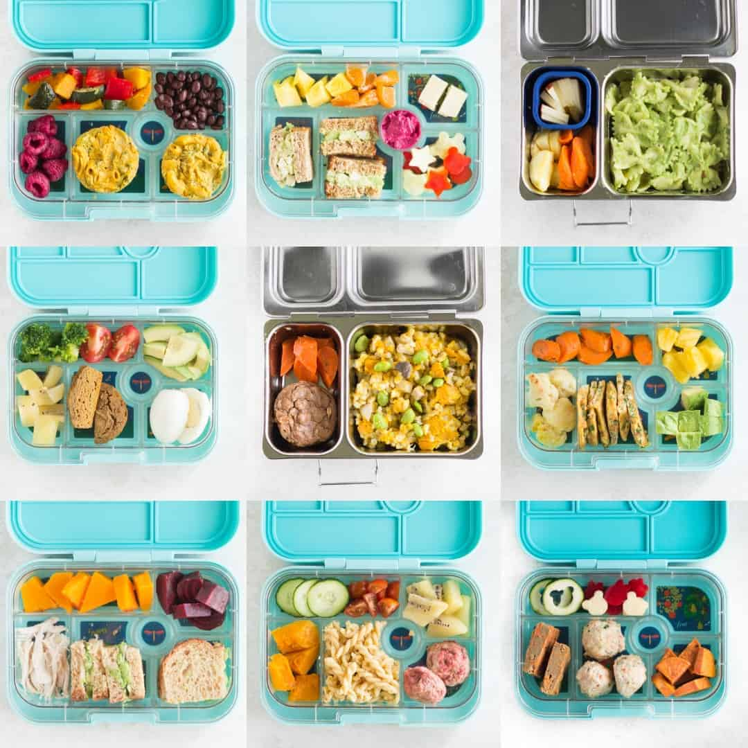 nine lunchbox ideas for preschool that are included in this post
