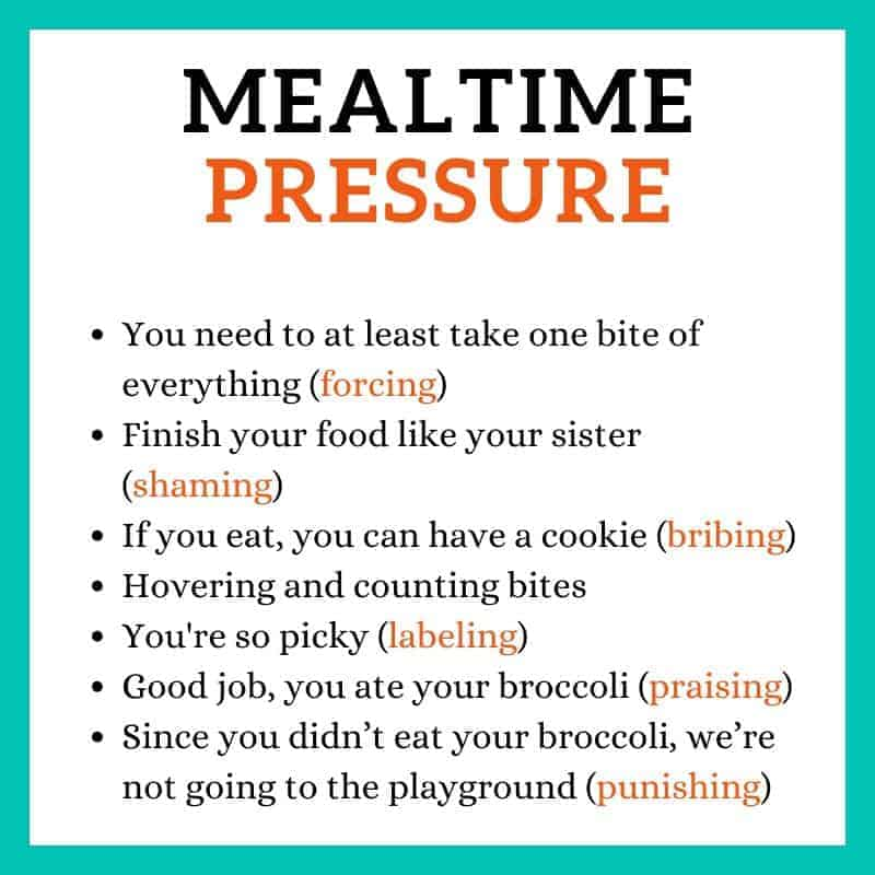 a graphic showing different forms of mealtime pressure -forcing, shaming, bribing, labeling, praising, punishing