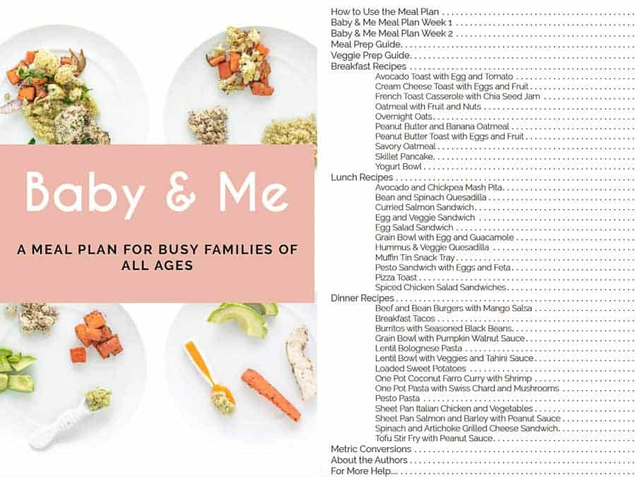Cover page for Baby and Me Meal Plan and table of contents