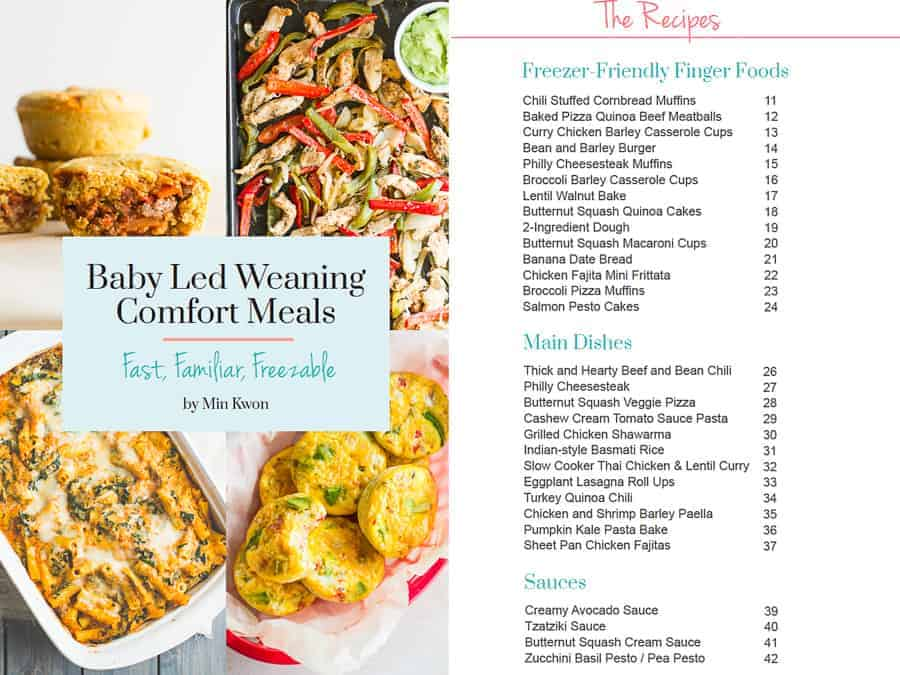 cover page of baby led weaning comfort meals as well as table of contents to show all the recipes