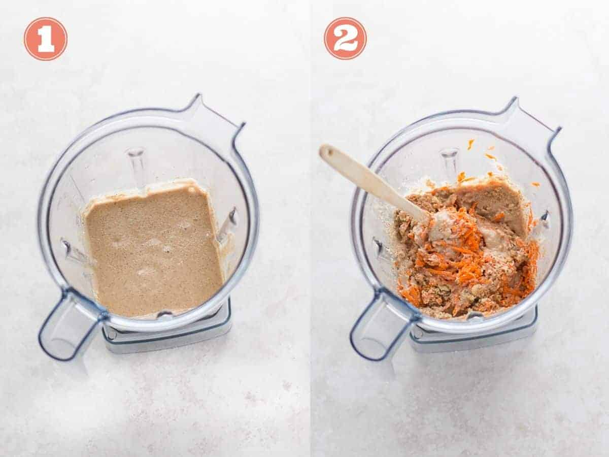 On the left -all the ingredients minus the stir-ins blended in a food processor. On the right carrots and walnuts added to the blender