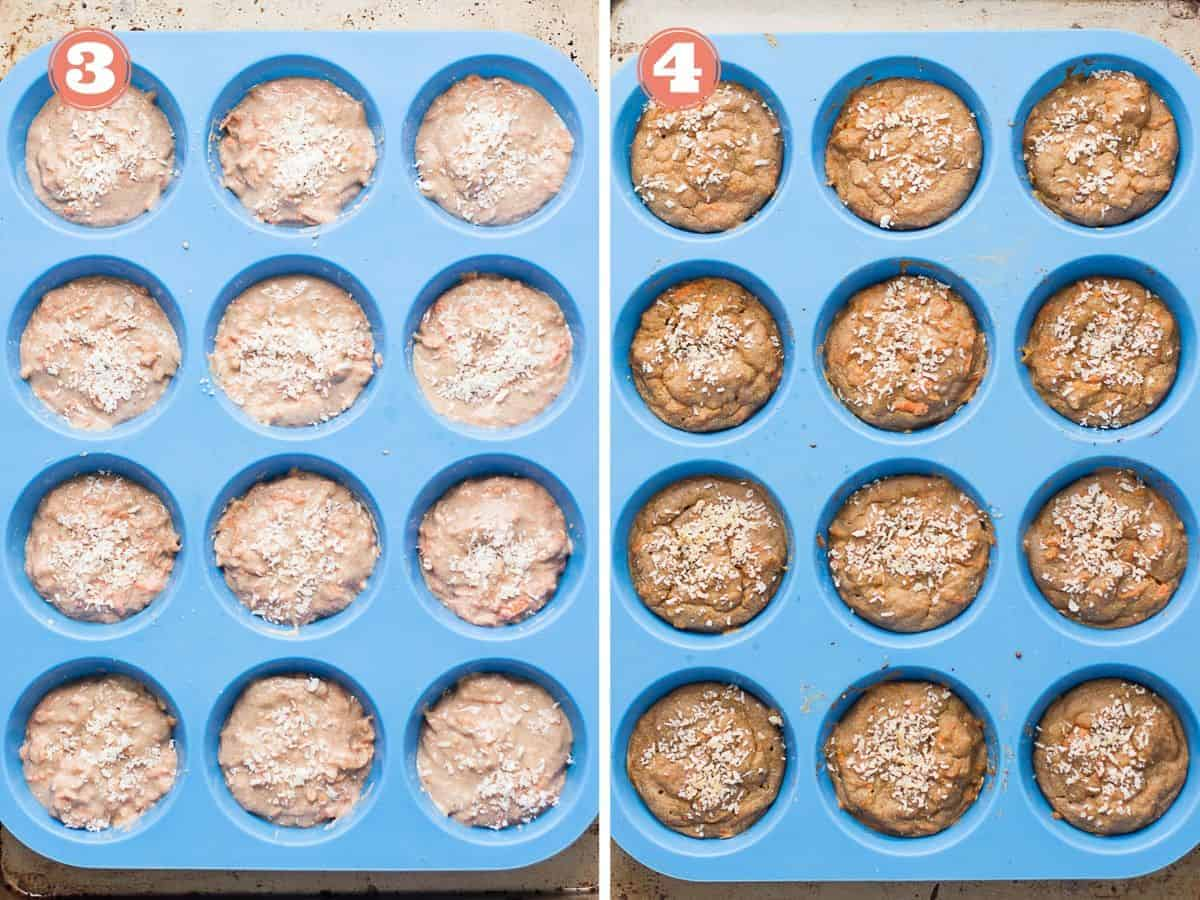 on the left precooked muffins in a blue silicone baking mat and on the right cooked carrot oatmeal muffins