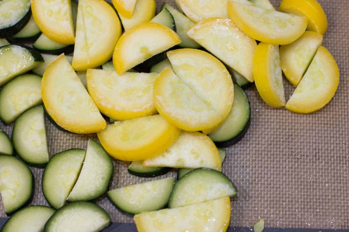 a close up shot of frozen yellow and green zucchini