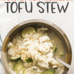Korean tofu soup in a claypot with a soup