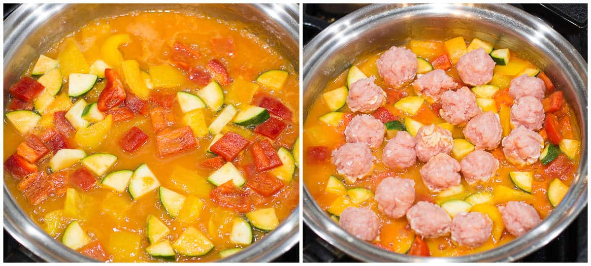 vegetables simmering in the sauce on the left and meatballs added on the right