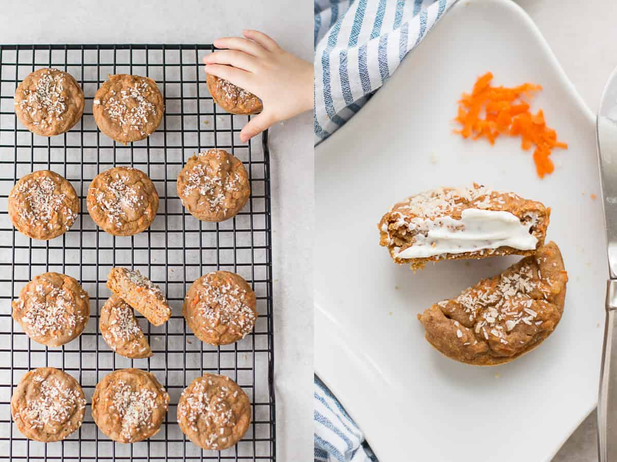 on the left baked carrot oatmeal muffins on a wire rack with a toddler hand and on the right sliced muffin with cream cheese