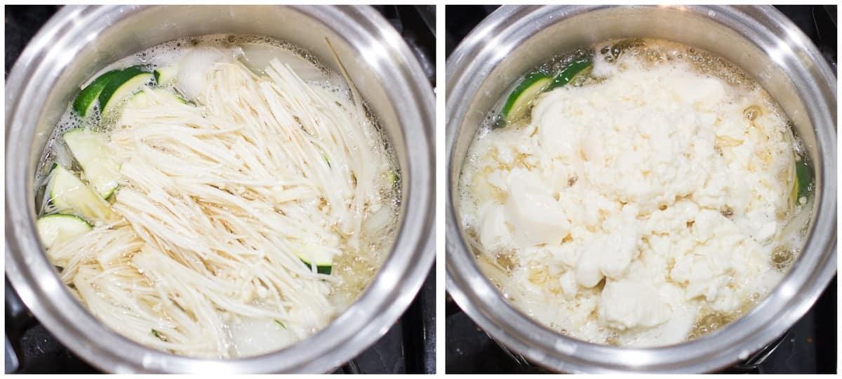 mushrooms, zucchini, garlic, and tofu added to the broth