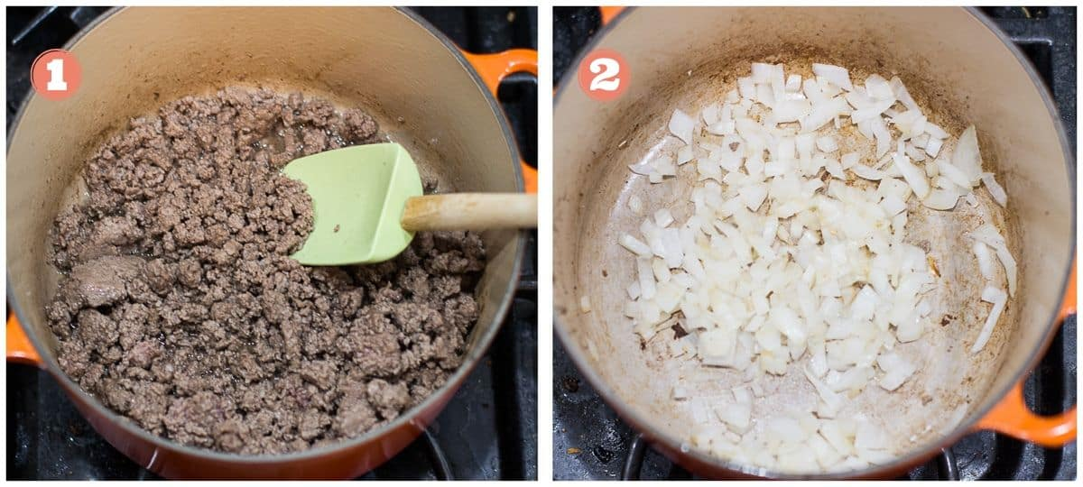 process shots showing cooked ground beef for step one and cooked onion for step 2