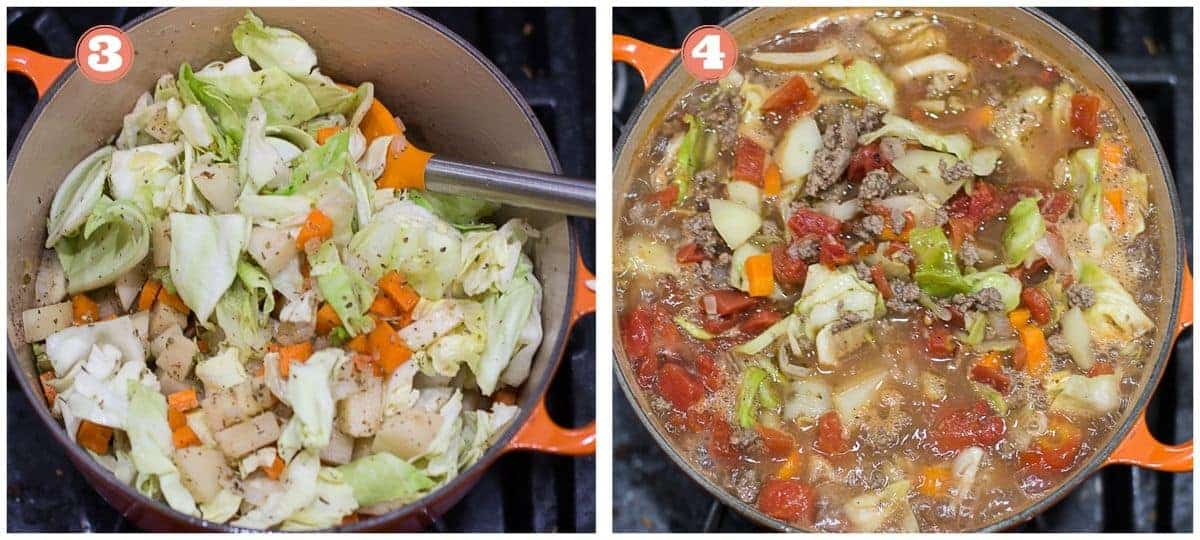 process shots for step three all the vegetables in the pot and step 4 added the liquids