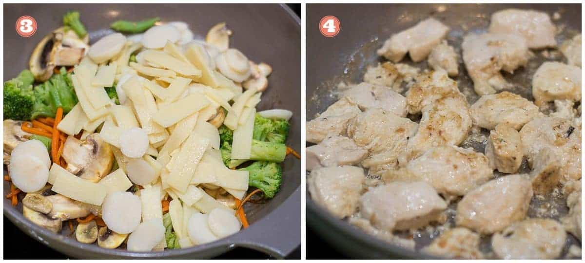 process shots on the left added bamboo shoots and water chestnuts and on the right cooking chicken