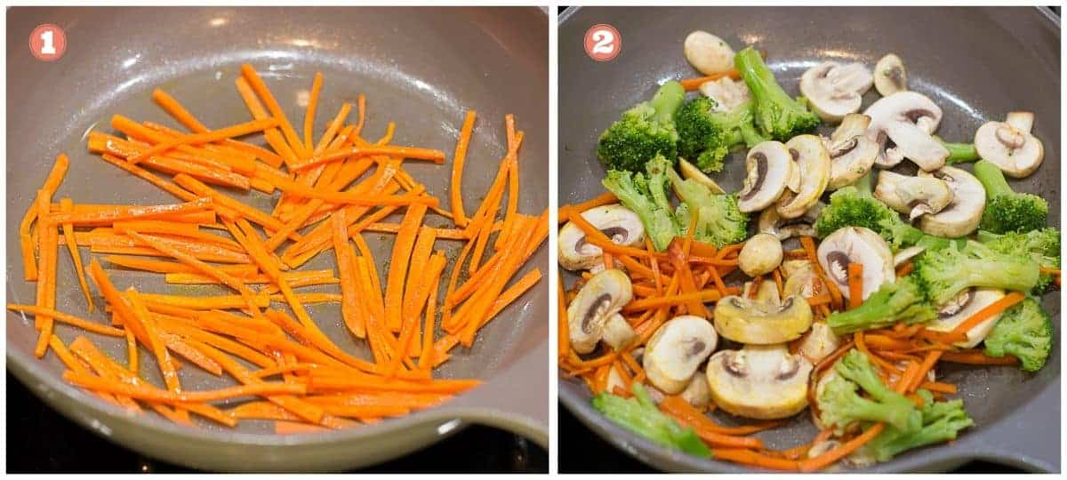 process shots on the left cooked carrots and on the right broccoli and mushrooms added