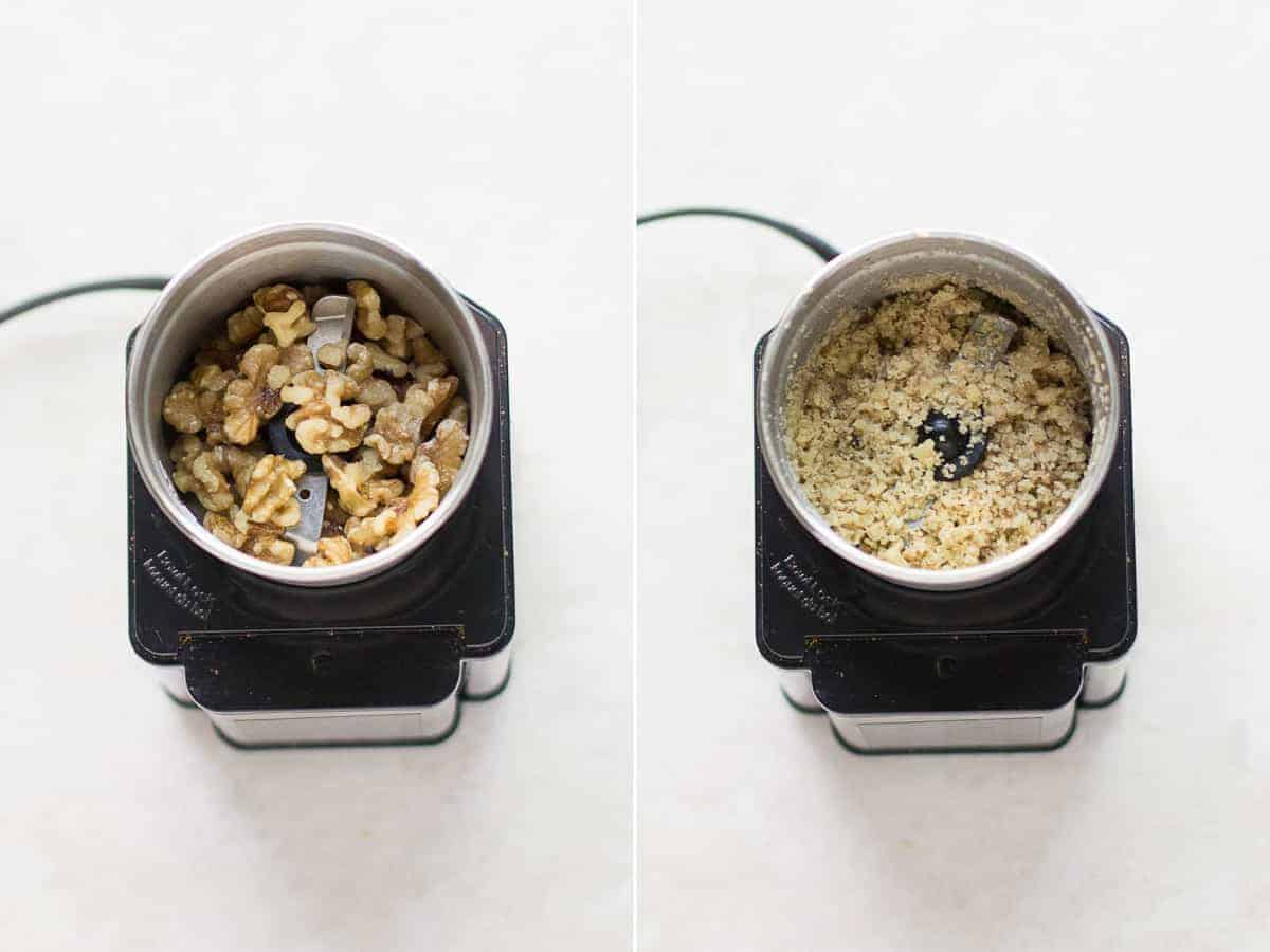 on the left whole walnuts in a food chopper and on the right walnuts finely chopped in a coffee grinder