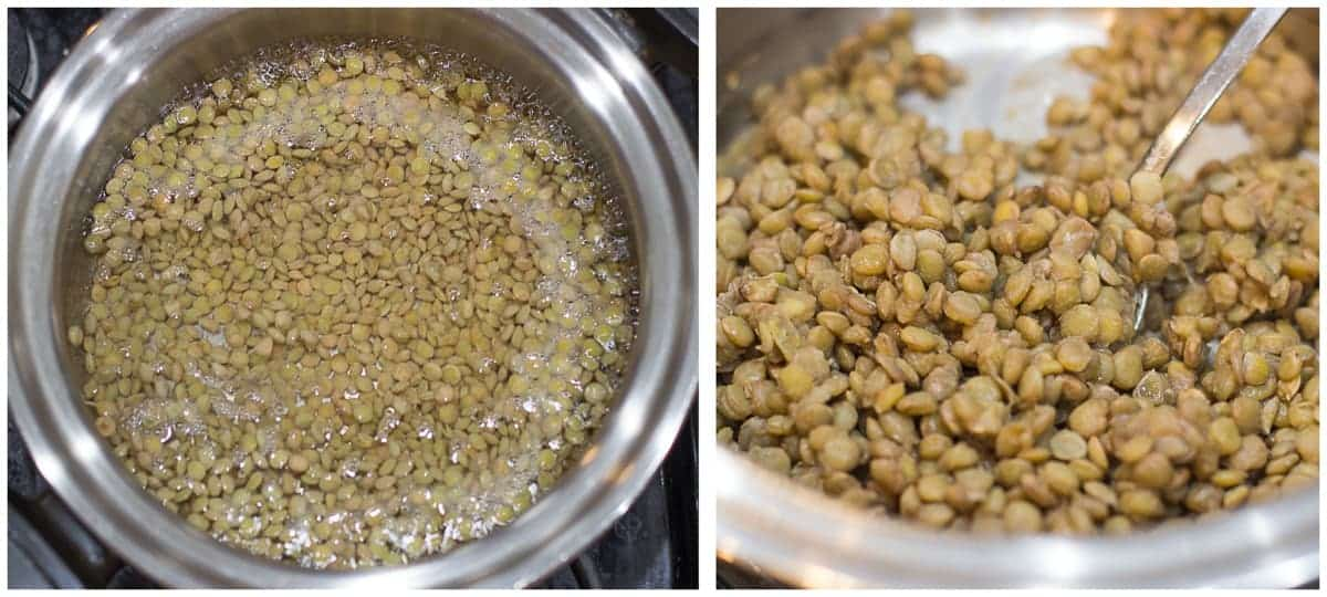 cooking lentils process shots on the left lentils in boiling water and on the right cooked lentils