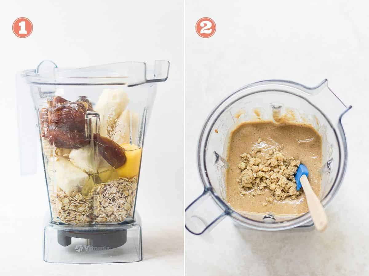 process shots on the left all the ingredients in a blender and on the right after blending with walnuts stirred in