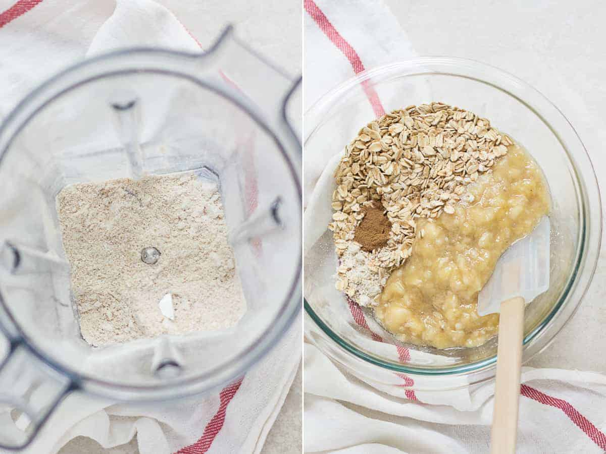on the left oat flour in food processor and on the right all the ingredients inside a large glass bowl