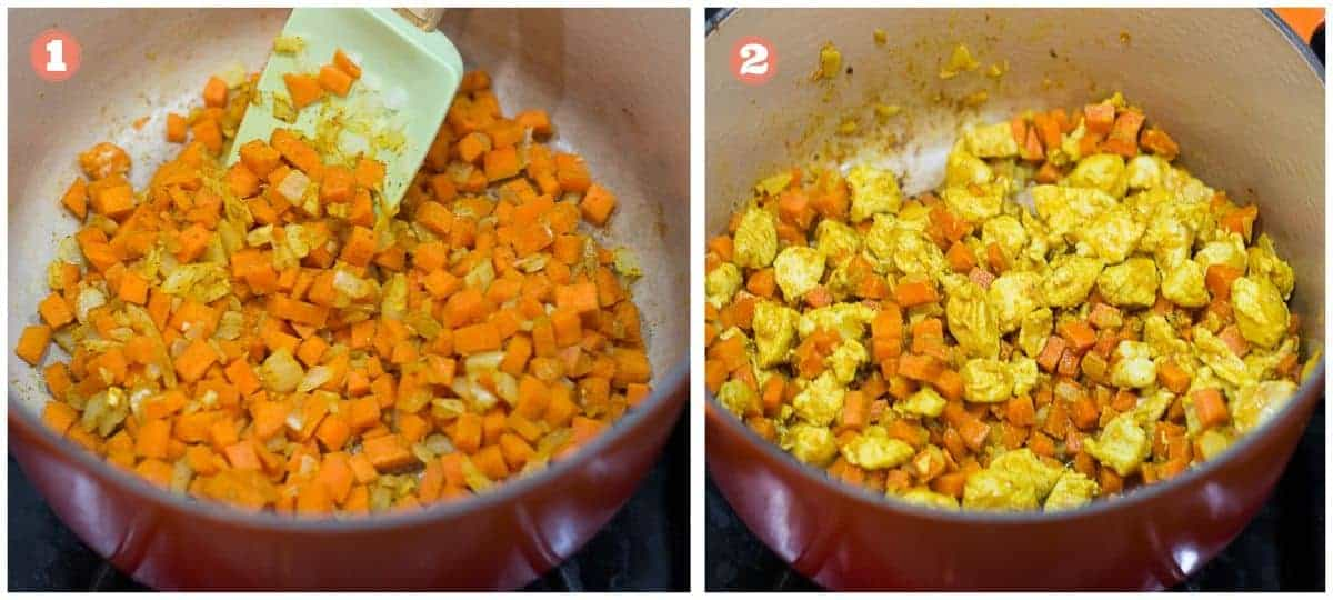 cooking shots showing carrots cooking on the left and chicken added on the right
