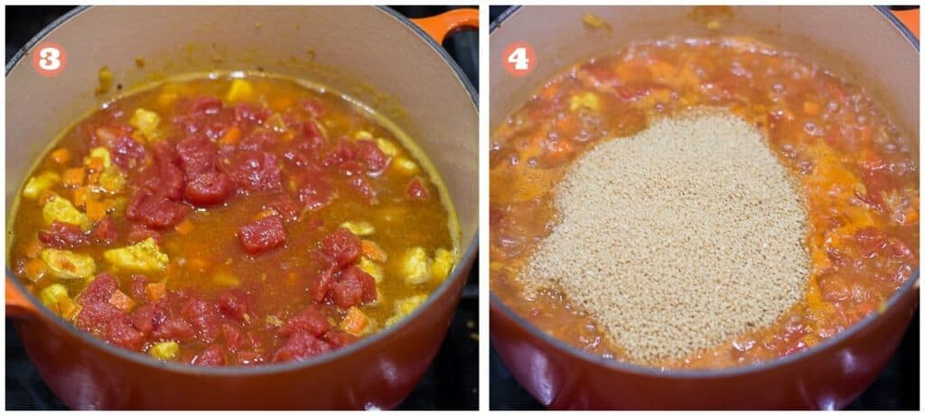 cooking process showing liquids added to the pot on the left and couscous added on the right