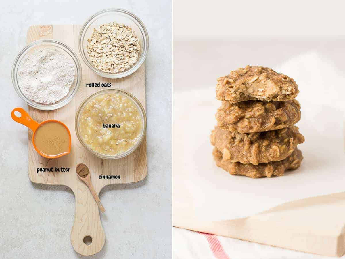 on the left the ingredients for the peanut butter version on a wooden board and on the right four baked cookies stacked