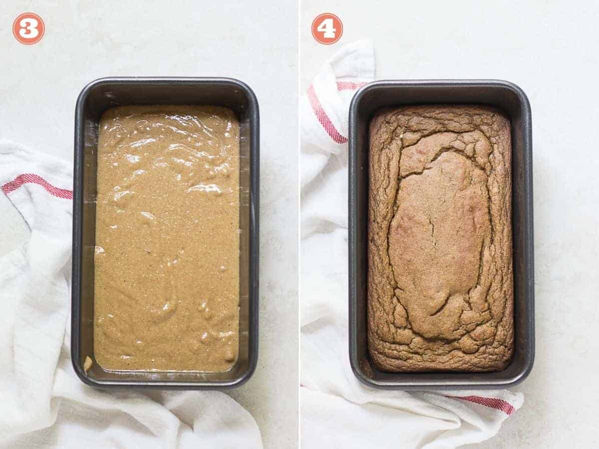 process shots with uncooked bread batter in a pan and on the right cooked bread in a pan