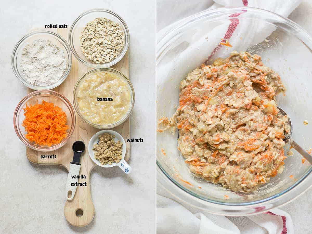 on the left ingredients for the carrot cookie version on a wooden board and on the right all the ingredients combined in a large glass bowl