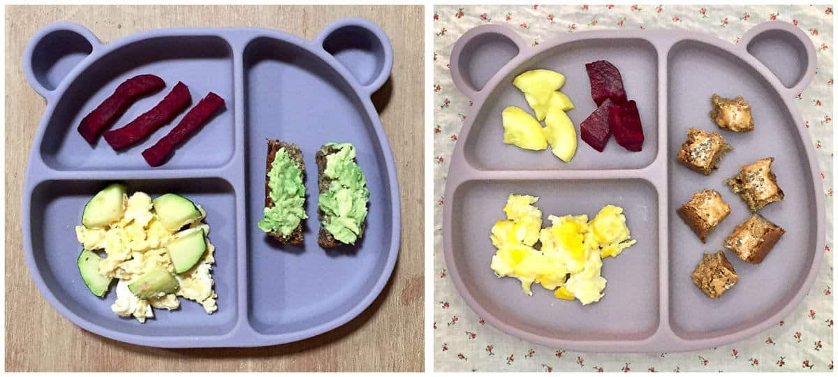 two bear suction plates with banana date bread, roasted beets, scrambled eggs, and zucchini sliced in different ways