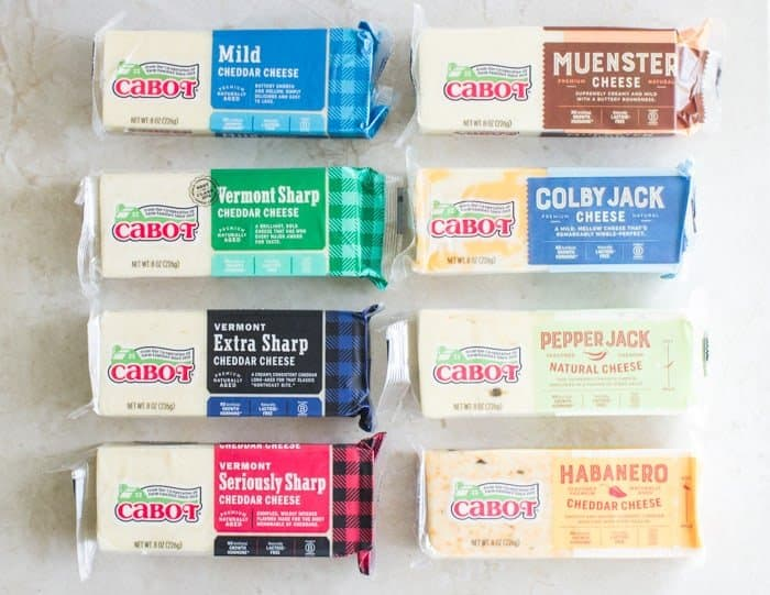 eight different Cabot cheddar cheese varieties