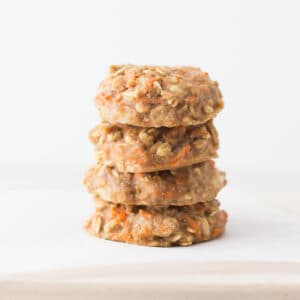 four carrot oatmeal cookies stacked