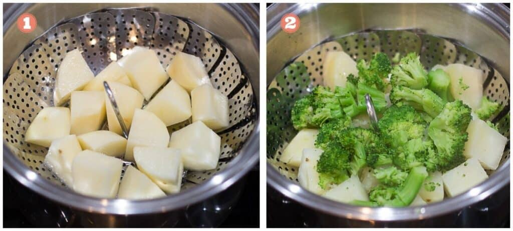 on the left potatoes steaming in a steamer basket on the right broccoli added to the potatoes