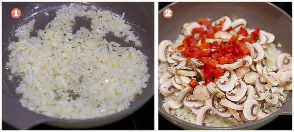 cooking process shots on the left onions cooking and on the right mushrooms and bell peppers added