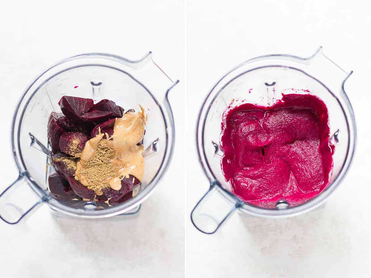 process shots on the left all the ingredients added to a blender and on the right after blended