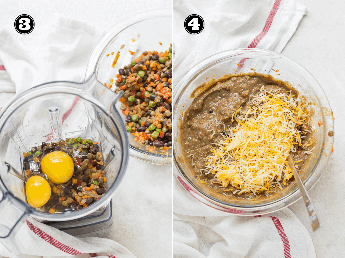 process shots with half of the lentil muffin mixture in the blender on the left and all the ingredients with cheddar cheese in a glass bowl on the right