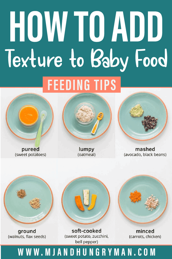 a collage of six images showing different textures to serve to babies
