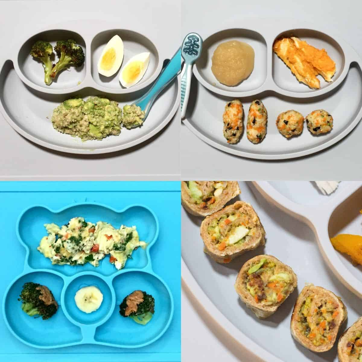 four plates showing chopped vegetables added to oatmeal, rice fingers, scrambled eggs, and toast roll-ups