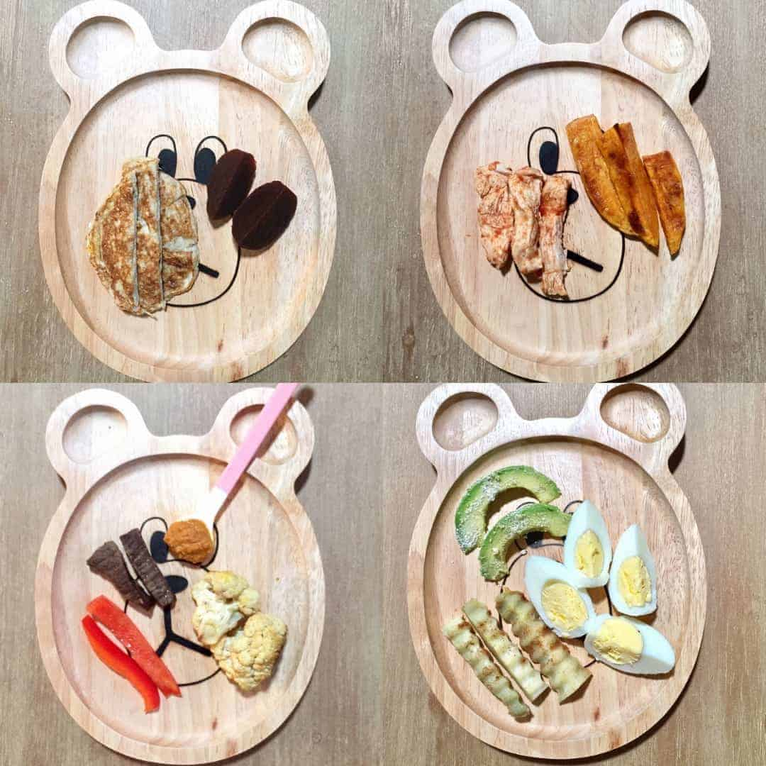 4 wooden plates with finger shaped foods served during first week of baby led weaning